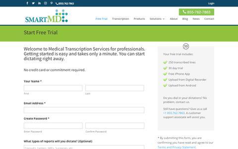 Screenshot of Trial Page smartmd.com - Start Trial - SMARTMD - captured July 26, 2018