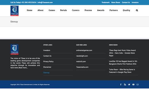Screenshot of Site Map Page 7seasent.com - Sitemap - 7SeasEnt - captured Sept. 4, 2016