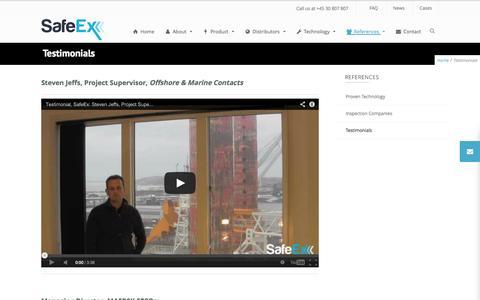 Screenshot of Testimonials Page safeex.com - Testimonials - SafeEx - captured Sept. 30, 2014