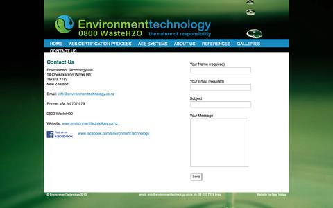 Screenshot of Contact Page environmenttechnology.co.nz - Environment Technology  - Contact us | - captured Sept. 30, 2014