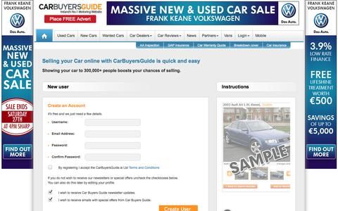 Screenshot of Login Page cbg.ie - Login or Join Car Buyers Guide Community Today - captured Sept. 19, 2014