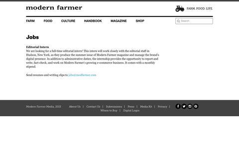 Screenshot of Jobs Page modernfarmer.com - Jobs - Modern Farmer - captured Oct. 2, 2015