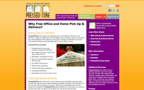Screenshot of Services Page pressed4time.com - Residential and Corporate Pick Up & Delivery laundry and Dry Cleaning Service - captured Sept. 30, 2014