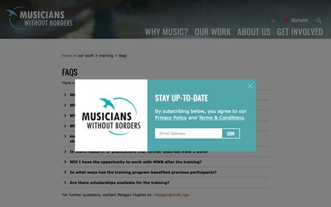 Screenshot of FAQ Page musicianswithoutborders.org - Musicians Without Borders - War Divides, Music Connects » FAQs - captured Nov. 17, 2018