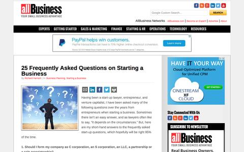 Screenshot of FAQ Page allbusiness.com - 25 Frequently Asked Questions on Starting a Business - captured Jan. 13, 2016