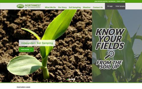 Screenshot of Home Page nwagtech.com - Northwest Ag Technologies, Independent Agriculture & Soil Sampling - captured Oct. 6, 2014