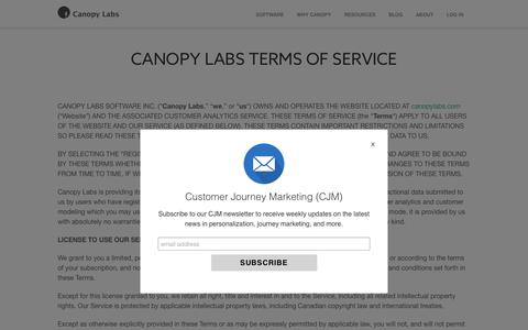 CANOPY LABS TERMS OF SERVICE | Canopy Labs