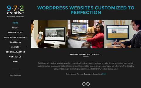 Screenshot of Home Page 972creative.com - 972 creative | WordPress Websites Customized to Perfection - captured Feb. 27, 2016