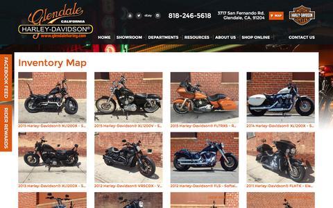 Screenshot of Site Map Page glendaleharley.com - Inventorymap   Glendale Harley-Davidson® California - captured Oct. 27, 2016