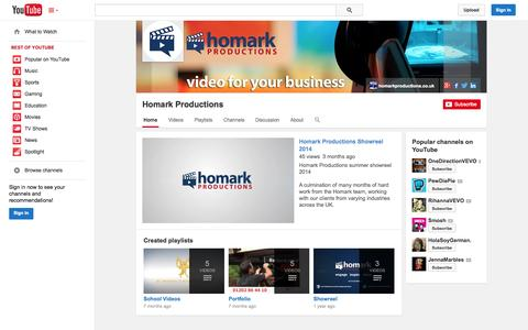 Screenshot of YouTube Page youtube.com - Homark Productions  - YouTube - captured Oct. 22, 2014