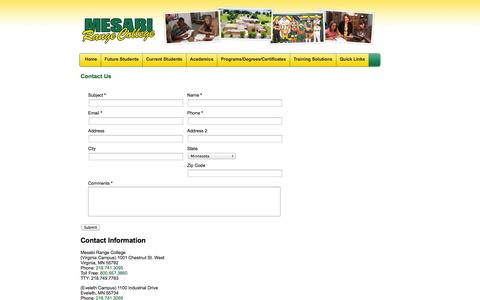 Screenshot of Contact Page mesabirange.edu - Mesabi Range College    Contact Us - captured Oct. 27, 2014