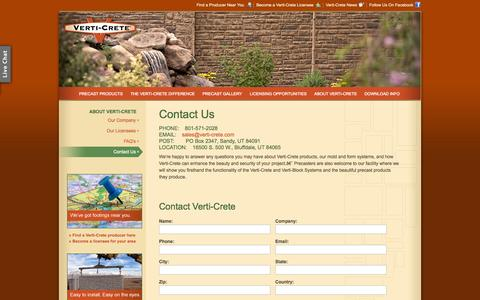 Screenshot of Contact Page verti-crete.com - Verti-Crete - How to Contact Us - captured Oct. 7, 2014