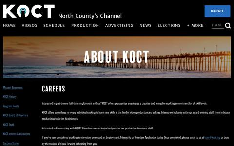 Screenshot of Jobs Page koct.org - Careers — KOCT - North County's Channel - captured Oct. 14, 2018