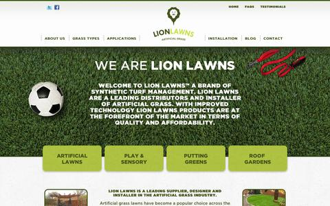 Screenshot of Home Page lionlawns.co.uk - Lion Lawns: Artificial Grass, Synthetic Turf & Fake Lawns for Gardens - captured Jan. 22, 2016