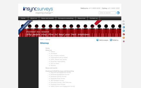 Screenshot of Site Map Page insyncsurveys.com.au - Sitemap - captured Oct. 6, 2014