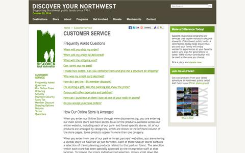 Screenshot of Support Page discovernw.org - Customer Service - Discover Your Northwest - captured Oct. 5, 2014