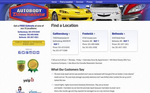 Screenshot of Locations Page autobodydimensions.com - Auto Body Repair Shop Locations - Autobody Dimensions - captured Dec. 27, 2015