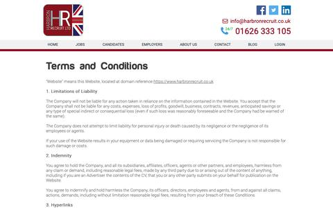 Screenshot of Terms Page harbronrecruit.co.uk - Terms & Conditions - Harbron Home Improvements - captured Sept. 27, 2018