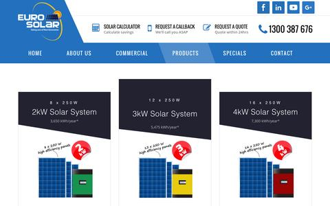 Screenshot of Products Page eurosolar.com.au - Solar Packages | Residential & Stand Alone Solar - captured Jan. 31, 2016