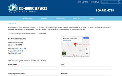 Screenshot of Contact Page bio-nomic.com - Contact Bio-Nomic Services - captured Oct. 4, 2018