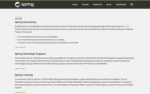 Screenshot of Services Page spring.io - Services - captured June 16, 2015