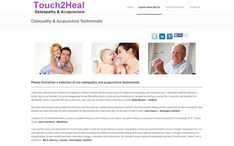 Screenshot of Testimonials Page touch2heal.co.uk - Osteopathy & Acupuncture Testimonials | Touch2Heal | Ashford, Chatham & Dover in Kent - captured Oct. 7, 2014