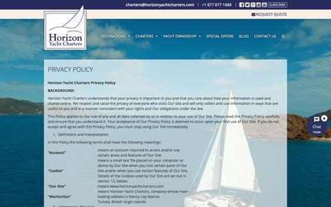 Screenshot of Privacy Page horizonyachtcharters.com - Privacy Policy | Horizon Yacht Charters - captured Nov. 5, 2018