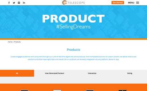 Screenshot of Products Page telescope.tv - Products   Telescope - captured Oct. 26, 2014