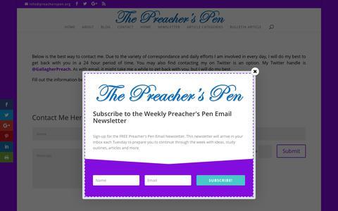 Screenshot of Contact Page preacherspen.org - Contact | The Preacher's Pen - captured July 20, 2018