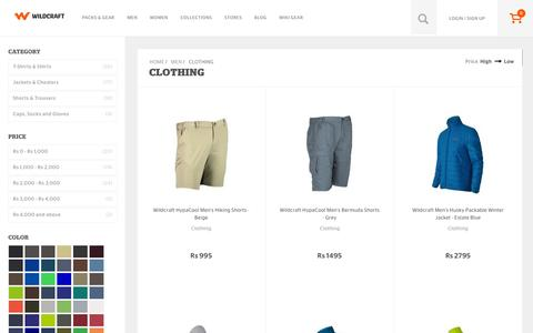Screenshot of wildcraft.in - Wildcraft Men's Clothing - Buy Mens Outdoor Clothing Online - captured March 19, 2016
