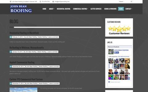 Screenshot of Blog johnbeanroofing.com - John Bean Roofing | John Bean Roofing Blog - John Bean Roofing - captured Oct. 6, 2014