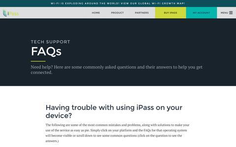 Screenshot of Support Page ipass.com - FAQs - iPass - captured Jan. 9, 2016