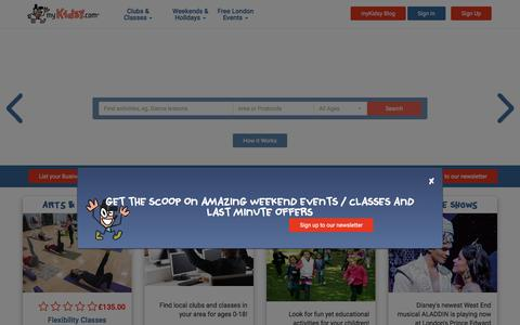 Screenshot of Home Page mykidsy.com - myKidsy | After School, Weekend & Holiday Activities for Children in London - captured Sept. 21, 2018