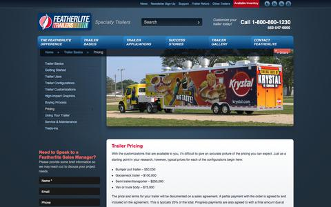 Screenshot of Pricing Page featherlitespecialty.com - Trailer Pricing - Specialty Trailers   Featherlite Trailers - captured Oct. 13, 2017