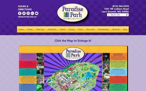 Screenshot of Maps & Directions Page paradise-park.com - Paradise Park Map   Kansas City, MO   Paradise Park - captured July 14, 2018