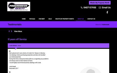 Screenshot of Testimonials Page progressiverealty.com.au - Progressive Realty > About Us > Testimonials - captured Sept. 30, 2018