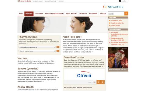Screenshot of Products Page novartis.com - Novartis Products - captured Oct. 26, 2014