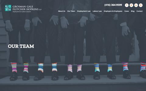 Screenshot of Team Page grosman.com - Toronto Employment & Labour Lawyers | Our Team | GGFH - captured Sept. 30, 2018