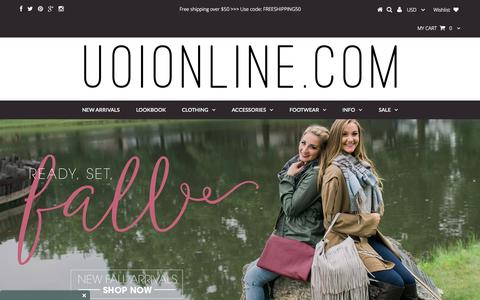 Screenshot of Home Page uoionline.com - UOIOnline.com - Women's Clothing Boutique – UOIOnline.com: Women's Clothing Boutique - captured Oct. 1, 2015