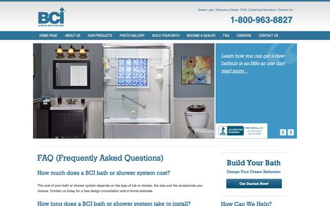 Screenshot of FAQ Page bciacrylic.com - FAQ - Bath Remodel Questions - BCI Acrylic - captured Oct. 4, 2018
