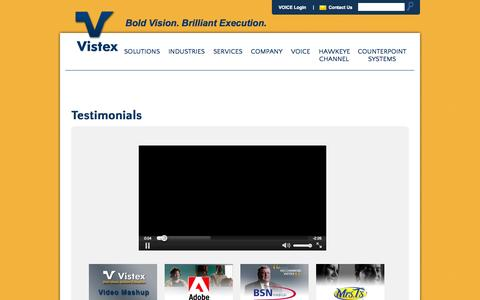 Screenshot of Testimonials Page vistex.com - Testimonials | Vistex - captured Oct. 26, 2014