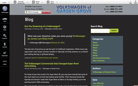 Screenshot of Blog vwofgg.com - Blog Post List | Volkswagen of Garden Grove - captured Feb. 26, 2016