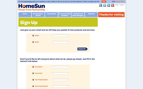 Screenshot of Signup Page homesun.com - Sign Up - Join Us - Recommend Us - HomeSun Solar - captured Sept. 30, 2014