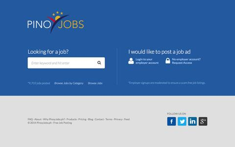 Screenshot of Home Page pinoyjobs.ph - Free Job Posting Philippines, Post Jobs Free | PinoyJobs.ph - captured Sept. 25, 2014