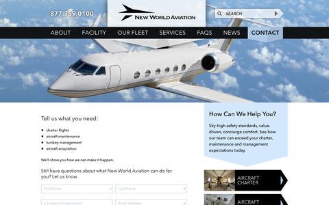 Screenshot of Contact Page newworldaviation.com - Contact | New World Aviation - captured Sept. 21, 2018