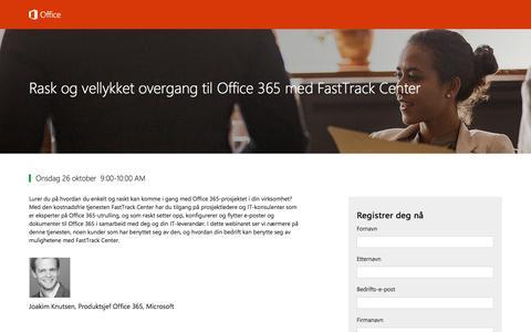 Screenshot of Landing Page office.com - Rask og vellykket overgang til Office 365 med FastTrack Center - captured Nov. 2, 2016