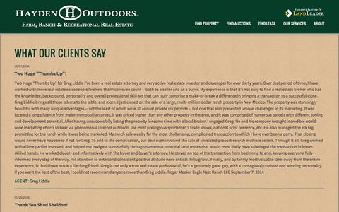 Screenshot of Testimonials Page haydenoutdoors.com - What Our Clients Say | Hayden Outdoors - captured Sept. 22, 2018
