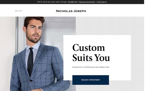 Screenshot of Home Page customsuitsyou.com - Custom Suits Chicago, Bespoke Suits, Tuxedos & Custom Shirts | Nicholas Joseph - captured Jan. 24, 2017