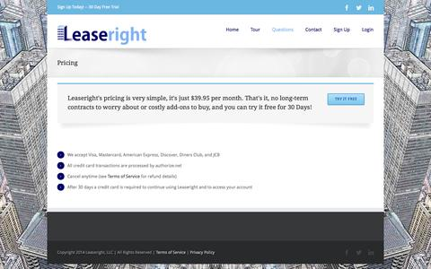 Screenshot of Pricing Page leaseright.net - Pricing | Leaseright - captured Sept. 29, 2014
