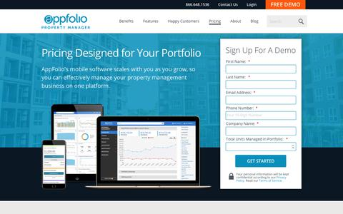 Screenshot of Pricing Page appfolio.com - AppFolio's Transparent Pricing - Free Upgrades & No Hidden Fees - captured Jan. 16, 2019